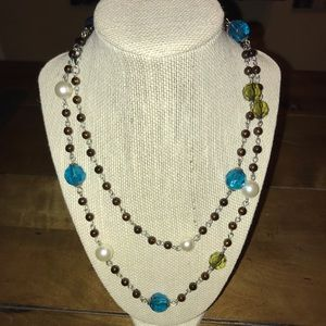 Brown/White/Blue/Green Strand Necklace